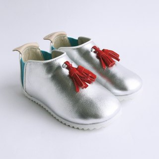 Beven Smiley. V series of children's casual shoes full leather - fringed section - fashion silver -30 yards (slippers / lazy shoes)