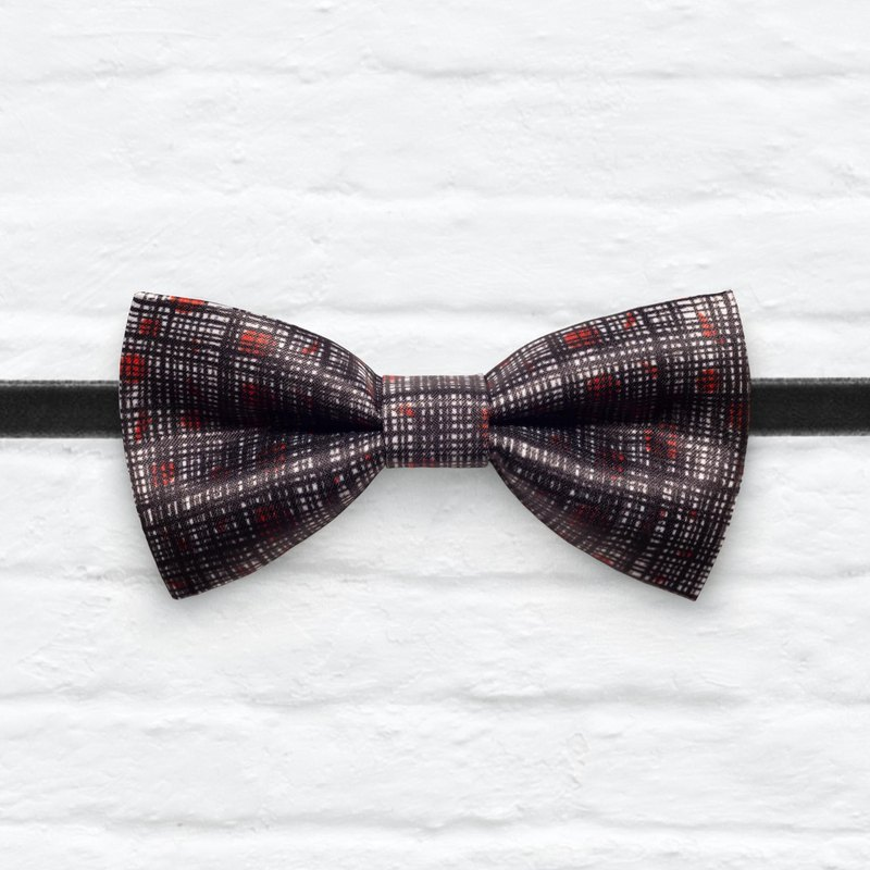 Style 0347 Red Dots with Plaids pattern Bowtie - Navy & White Wedding Bowtie