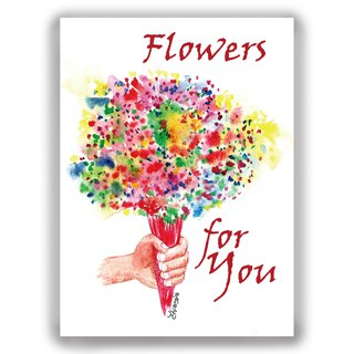 Valentine's Day--hand-painted illustration universal card / card / postcard / illustration card / Valentine card--send a bunch of flowers