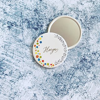 Mstandforc Pocket Mirror with bag | Half Florals with gold foil service