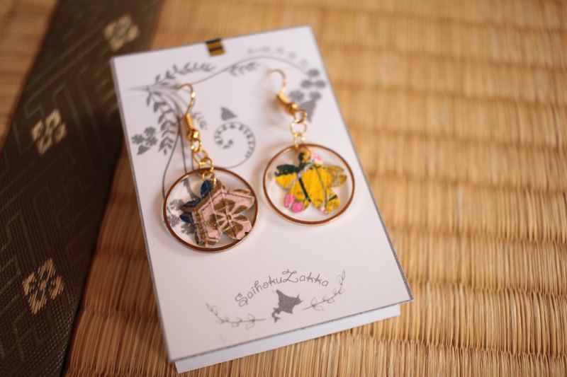 Japanese paper earrings pierced Japanese cherry tree