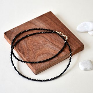 Handmade Sterling Silver with Black Spinel Beads Necklace