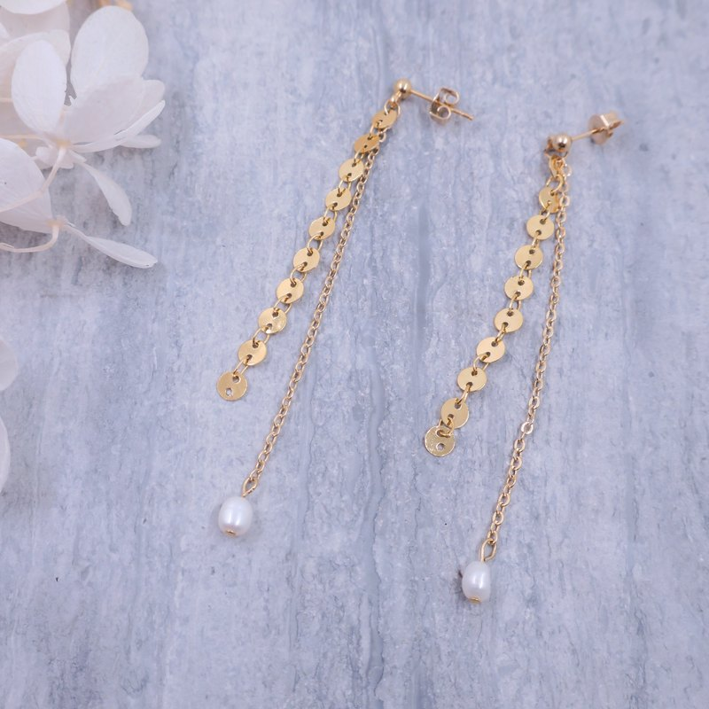 Fishing pearl earrings (ear / ear clip)