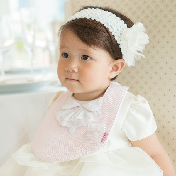 bib-bab Baby Bib Formal Type Pink (White Lace Ribbon)
