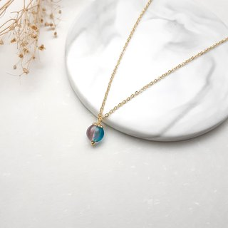 ♥ HY ♥ x necklace hand-made glass pumpkin red and blue gradient