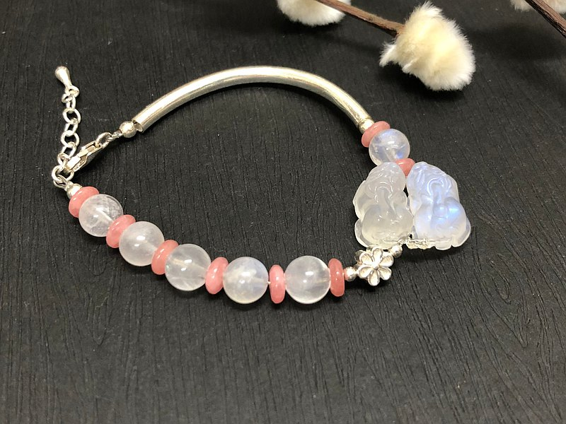 Lucky Pixiu Mythical Bracelet Blue Moonstone 925 Silver Tube Bracelet Surge in Popularity