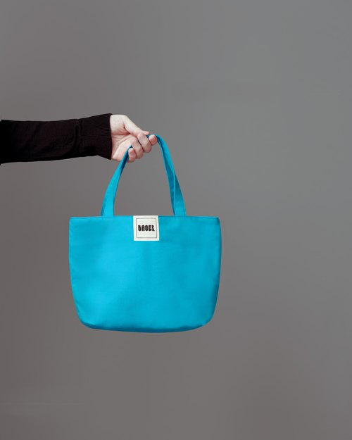 Simple plain canvas / handbag / lunch bag / sky blue