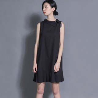 SU: MI said Picnic Green Hill picnic cotton linen dress _7SF025_ black
