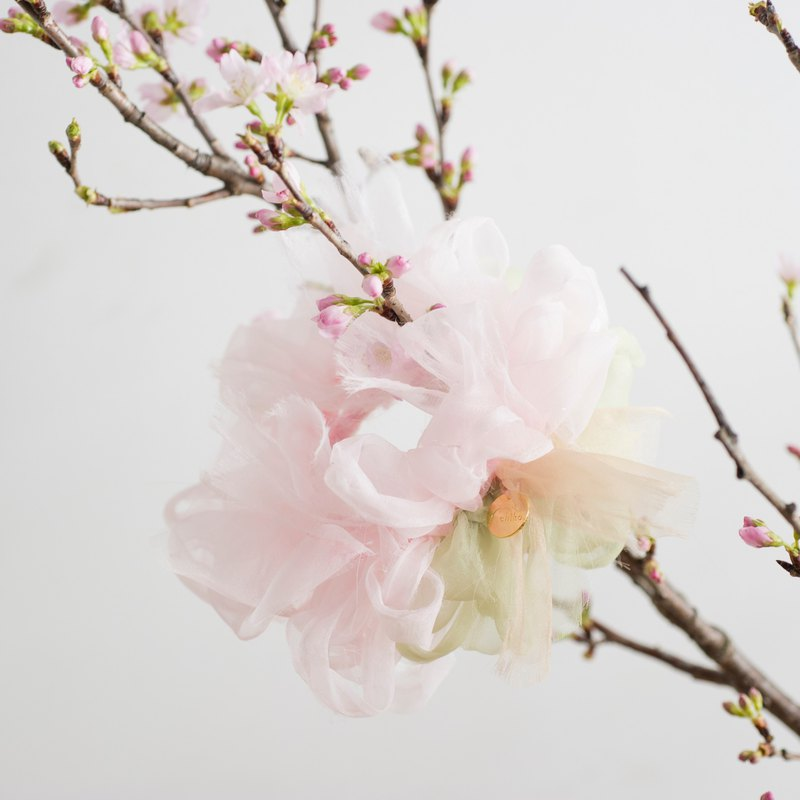 Cherry Blossom: Blooming Sakiami Colourful Hair Scrunchy / Hair Accessory