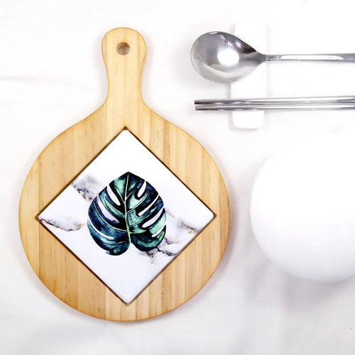 Tile Trivet Vintage Leaves Wood Hot Plate Pot Holder