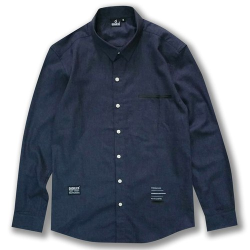 Doodles hipster Navy colour Men's cotton shirt with specific jet pocket