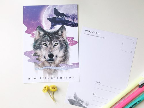 Animal illustration postcard [wolf smoke]