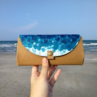 [Sea color] blue spray handmade painted kraft paper organ wallet