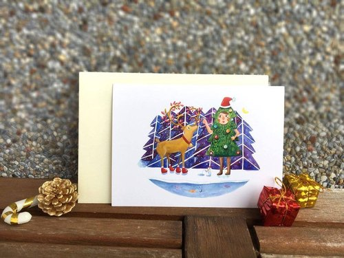 Christmas single card gift with a total of six sections of the forest