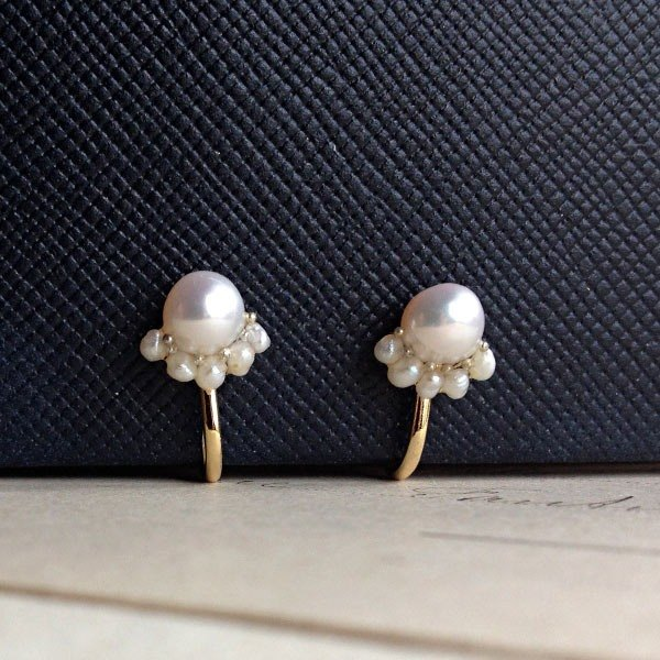16kgp freshwater pearl cabochon and freshwater petit earrings ear piercing ear