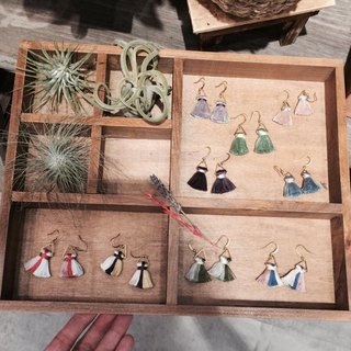 Lao Lin grocery Travelin- spell color hand-made tassel earrings Japan embroidery thread / fat section ear hook l ear needle l ear clip