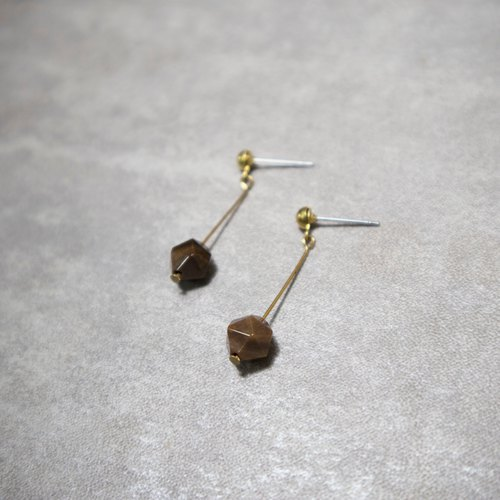 Natural Stone Shake Earrings Wood Fossils Free Clipping