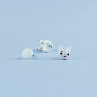 RJ BT21 Cat - Polymer Clay Earrings, Handmade&Handpaited Catlover Gift