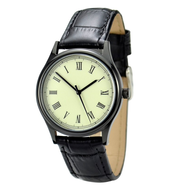 Backwards Watch Roman Black Retro Unisex Free shipping worldwide