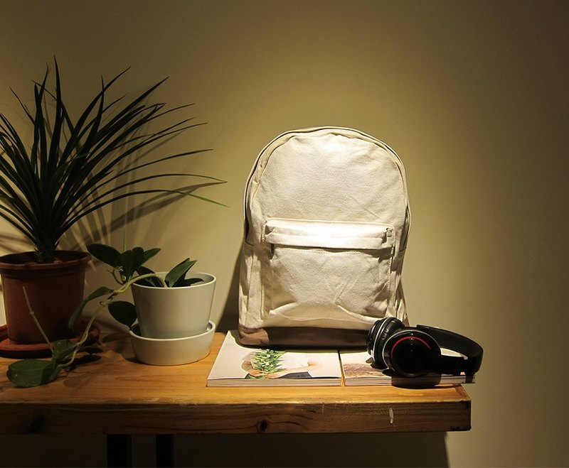 Valentine's Day Gift Canvas Backpack - Large (White / Cocoa) Free Shipping