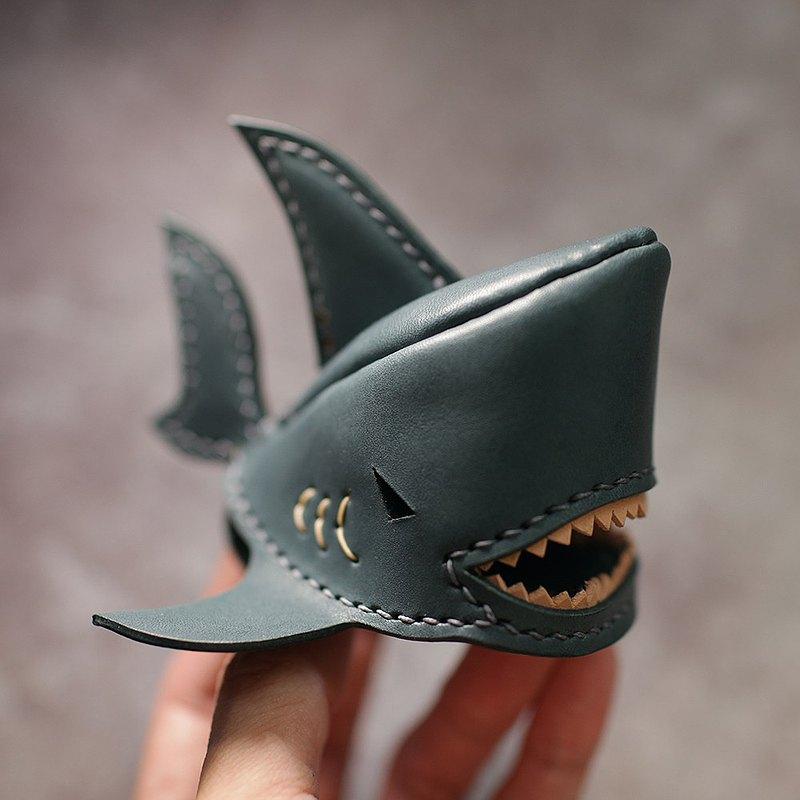 純手工製 文青藍 鯊魚鑰匙圈 shark Key holder