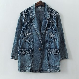 Banana Flyin '| vintage | back to Korea exaggerated gorgeous denim jacket