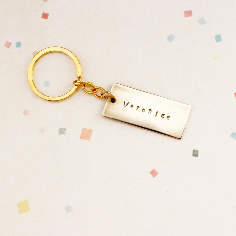 Minimalistic exclusive tag brass key ring | customized hand knock letter anniversary birthday graduation gift