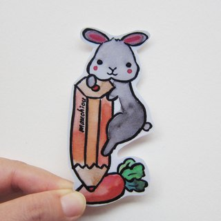 Hand drawn illustration style completely waterproof sticker gray rabbit said I want to draw a carrot for you