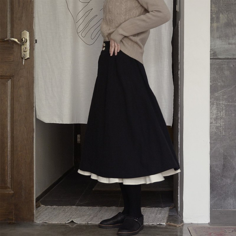 Black double-layer petal skirt|skirt|autumn winter|washed linen|independent brand|Sora-219