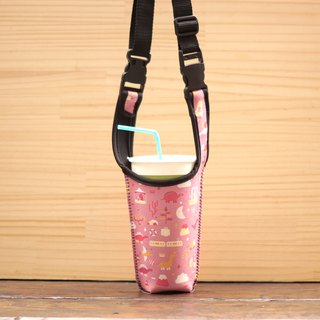 Dinosaur Drink Long Backpack - Pink