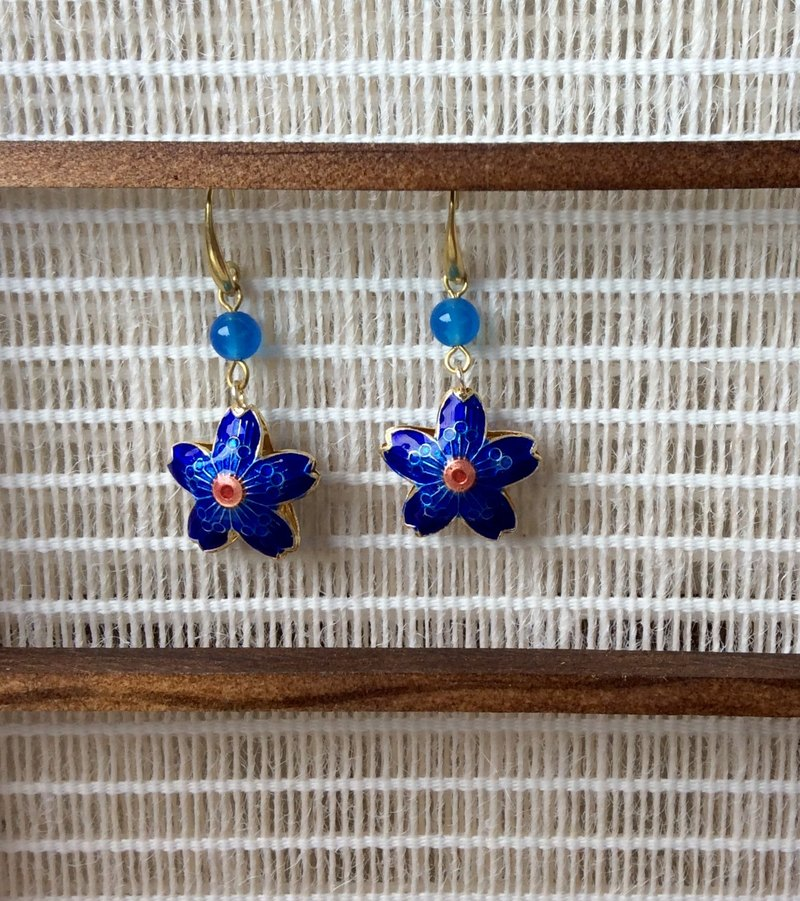 Meow ~ handmade cherry cloisonne earrings / sapphire