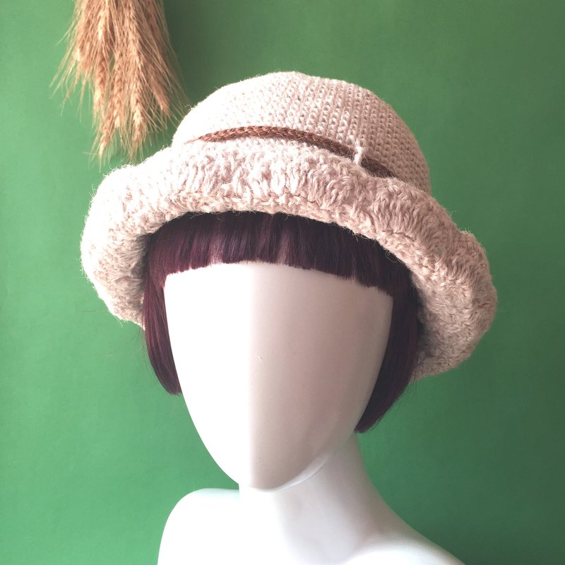 Lonely beautiful knit hat / linen weave / hats / knit hat / sunscreen handmade〗 〖crazy hopscotch
