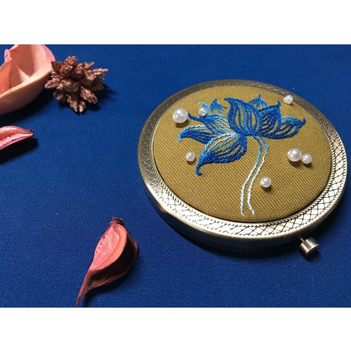 Original handmade embroidery mirror blue lotus