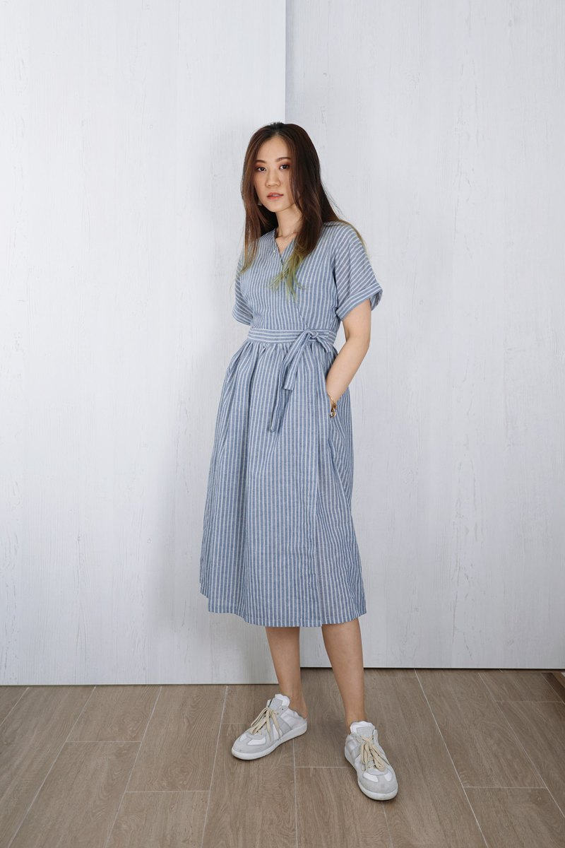 OUD original. Linen-Cotton Japanese Style Wrap Midi Dress With Pleated Detail