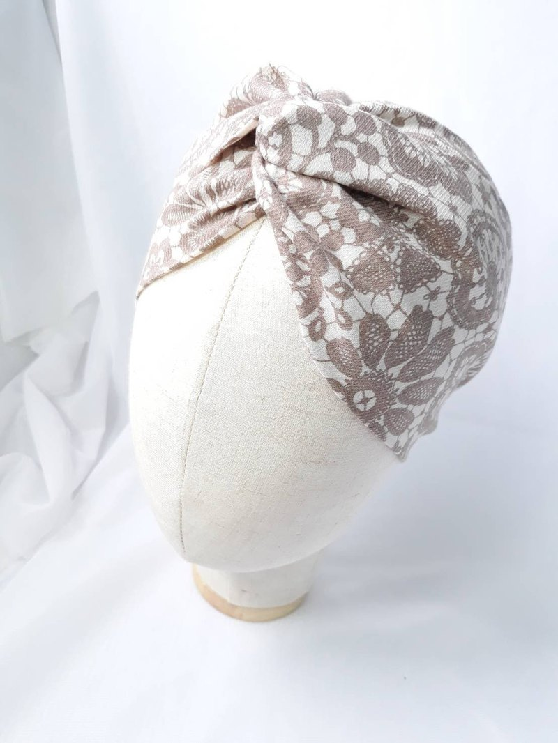 Beige lace silk scarf scarf handmade hair band