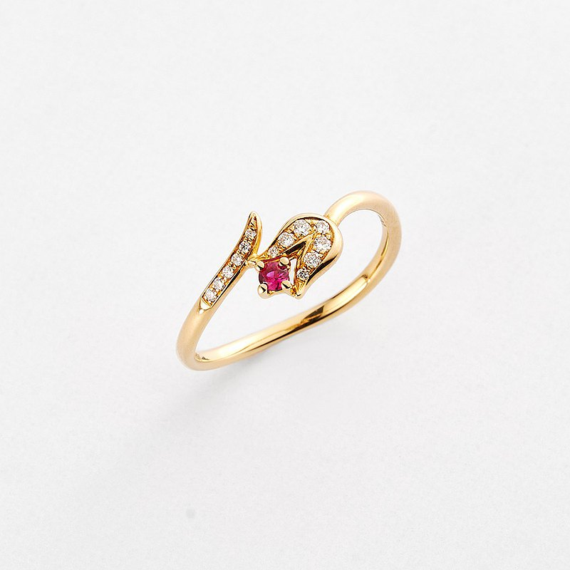 18K Gold Real Diamond Ruby Tulip Ring