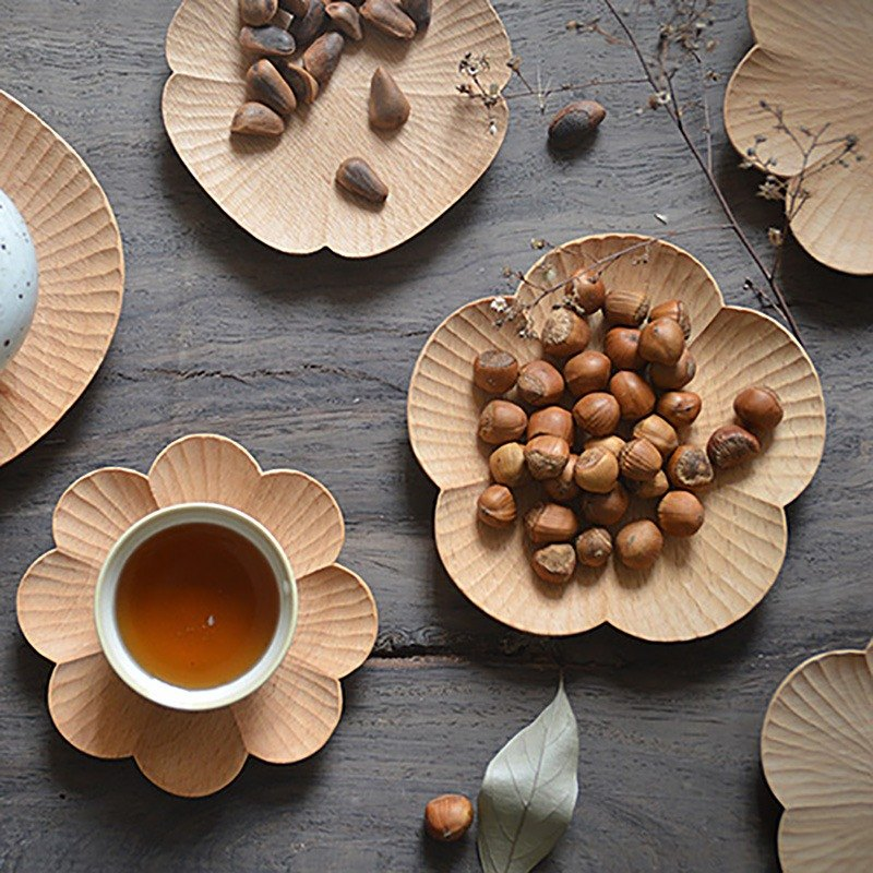 Yamaguchi senser | Original handmade wooden flower dish snack dish Wooden creative coaster Japanese flower plate, tea tray - large