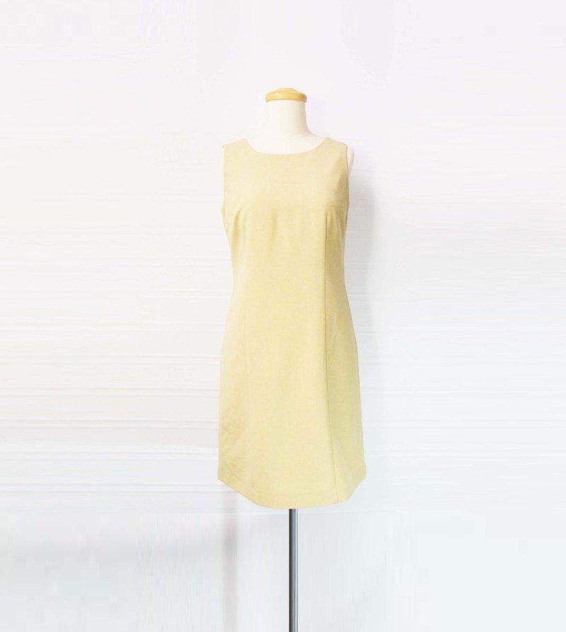 Wahr_米黃背心洋裝