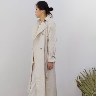 Oversized Linen Trench Coat Beige