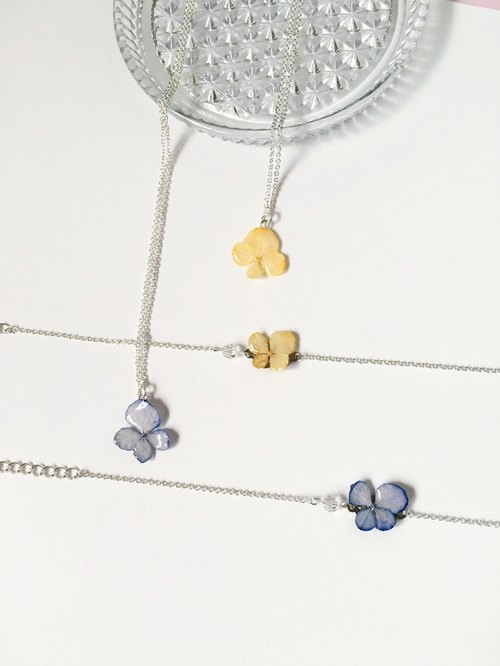 Jewellery micro - mini hydrangea real flowers clavicle chain necklace crystal bracelet sets (three-dimensional real flowers series) Limited product <pale orange and purple two color option>