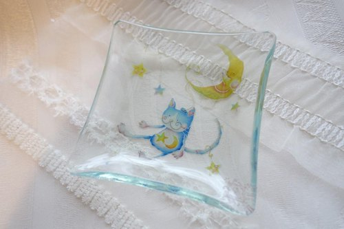 Decorative glass small plate ~ Emily of cat · Moon lift