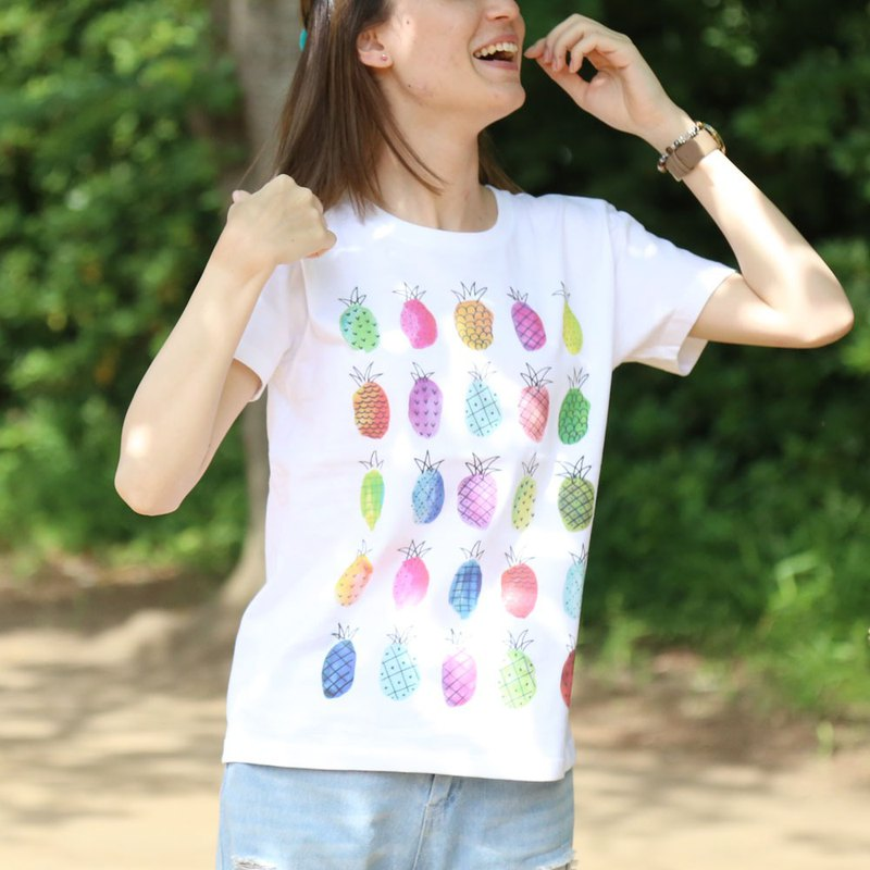 Pineapple printed T-shirt - White - women's / men's / unisex