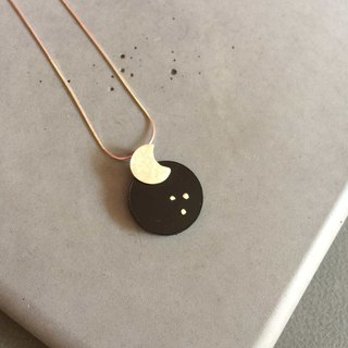 Moon and Stars  Rustic Sterling Silver Necklace with Black Plexi