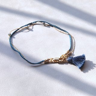 Crossing the border traveler's bracelet - thick blue