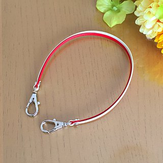 "Two-tone color Leather strap ( Red and Ivory ) ""Clasps : Silver"""