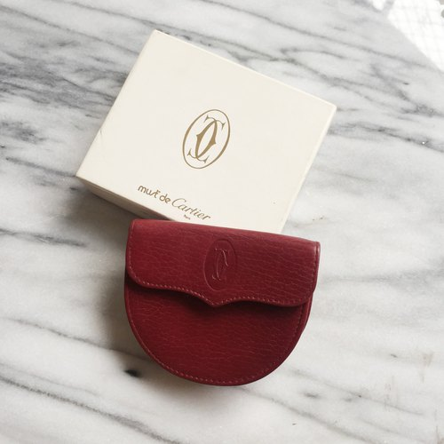 A ROOM MODEL - VINTAGE - Cartier Burgundy Semicircular Wallet / BD-0940