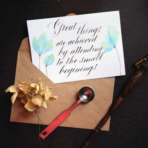Great things take time- Calligraphy postcard