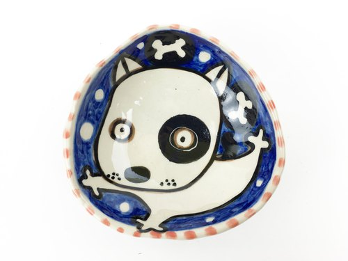 Nice Little Clay hand-painted small plates _ cute black round dog 112537