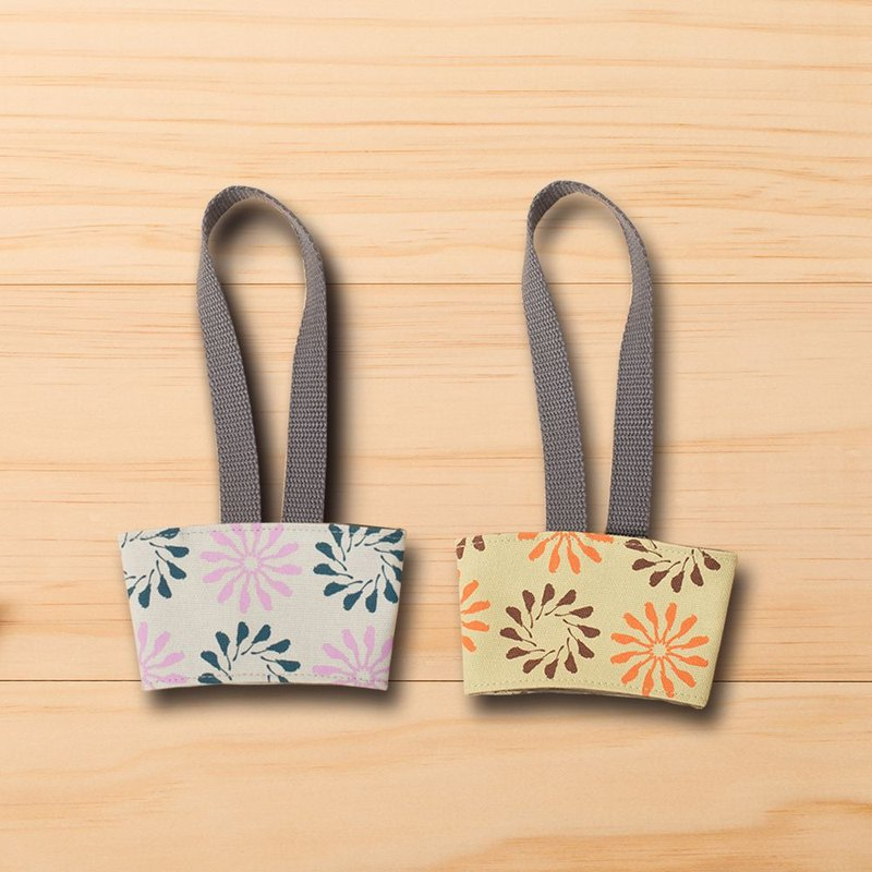 Take-Out Cup Holder (2pcs) / Black Drongo Circles / Straw Green + Grey Purple