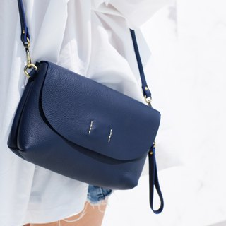ABBIE - Navy blue / Minimal crossbody leather bag-genuine chamois leather